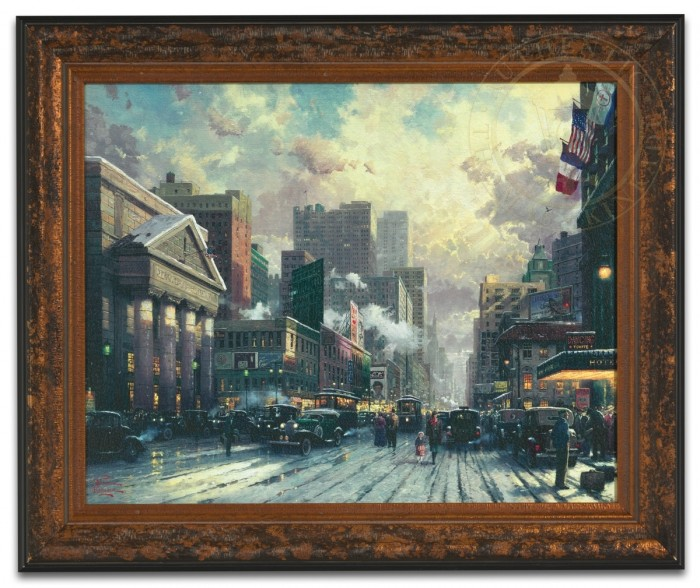New York, Snow on Seventh Avenue, 1932 – Framed Texture Print
