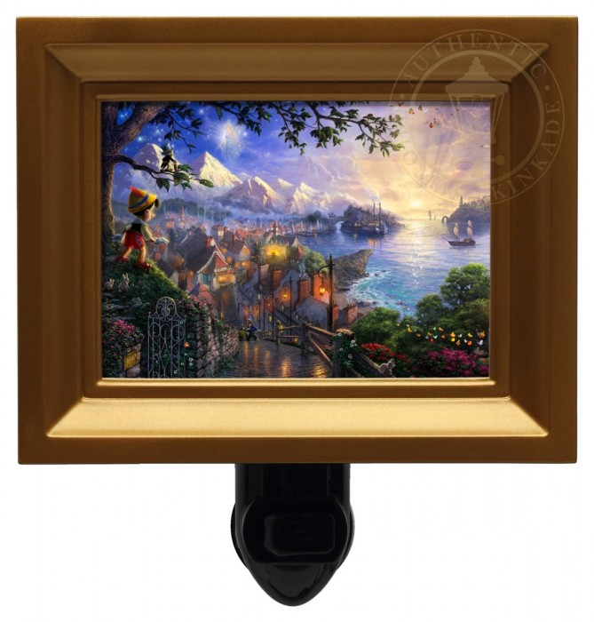 Pinocchio Wishes Upon A Star – Nightlight (Gold Frame)