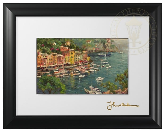 Portofino – Framed Matted Print (Satin Black Frame)