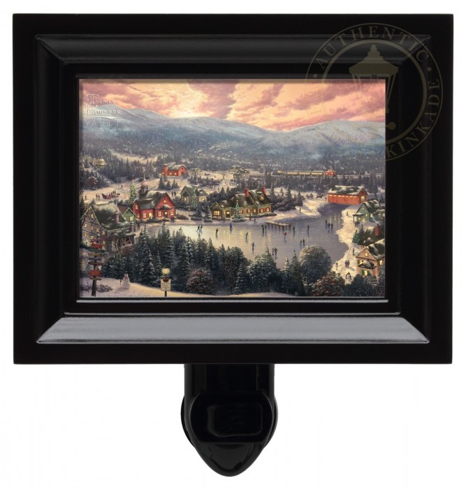 Sunset on Snowflake Lake – Nightlight (Black Frame)