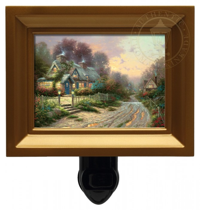 Teacup Cottage – Nightlight (Gold Frame)