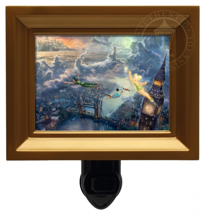 Tinker Bell and Peter Pan Fly to Neverland – Nightlight (Gold Frame)