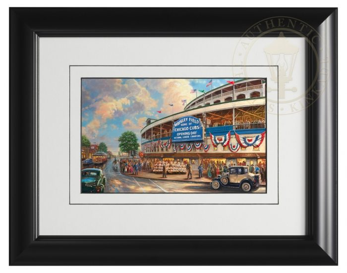 <em>Wrigley Field</em>™: Memories and Dreams – 9″ x 12″ Framed Print (Satin Black Frame)