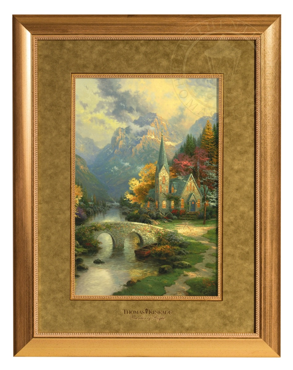 The Mountain Chapel Framed Matted Print The Thomas Kinkade Company