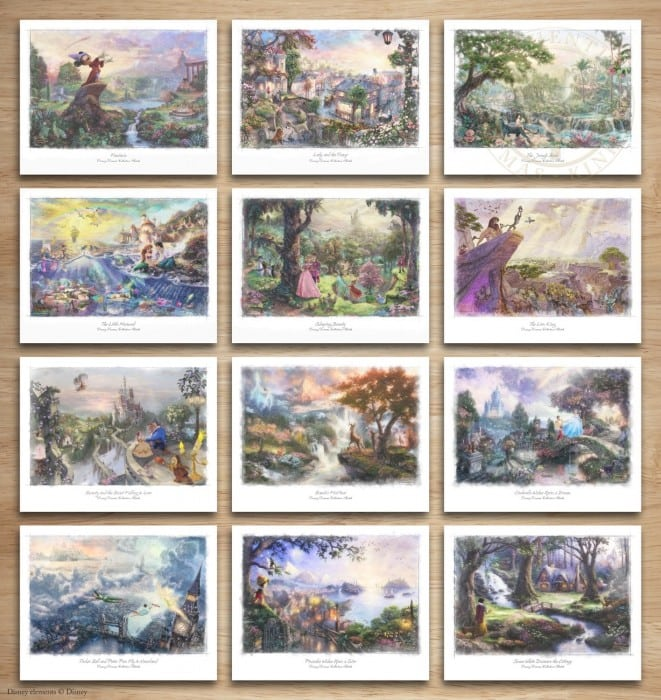 Disney Dreams Collection – Set of Twelve  11″ x 14″ Sketches