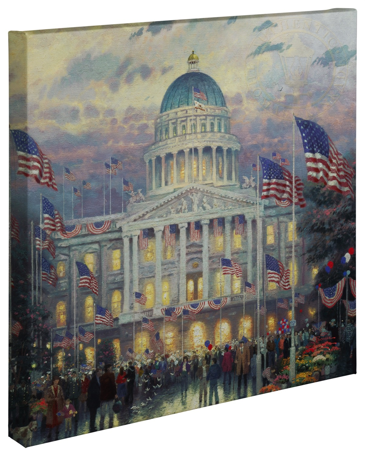 Flags Over The Capitol 20 X 20 Gallery Wrapped Canvas Thomas Kinkade Studios