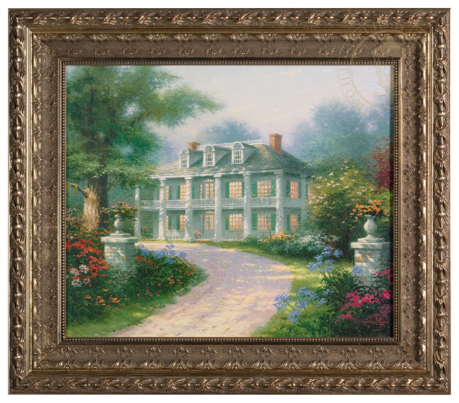 Homestead House Framed Textured Print Thomas Kinkade