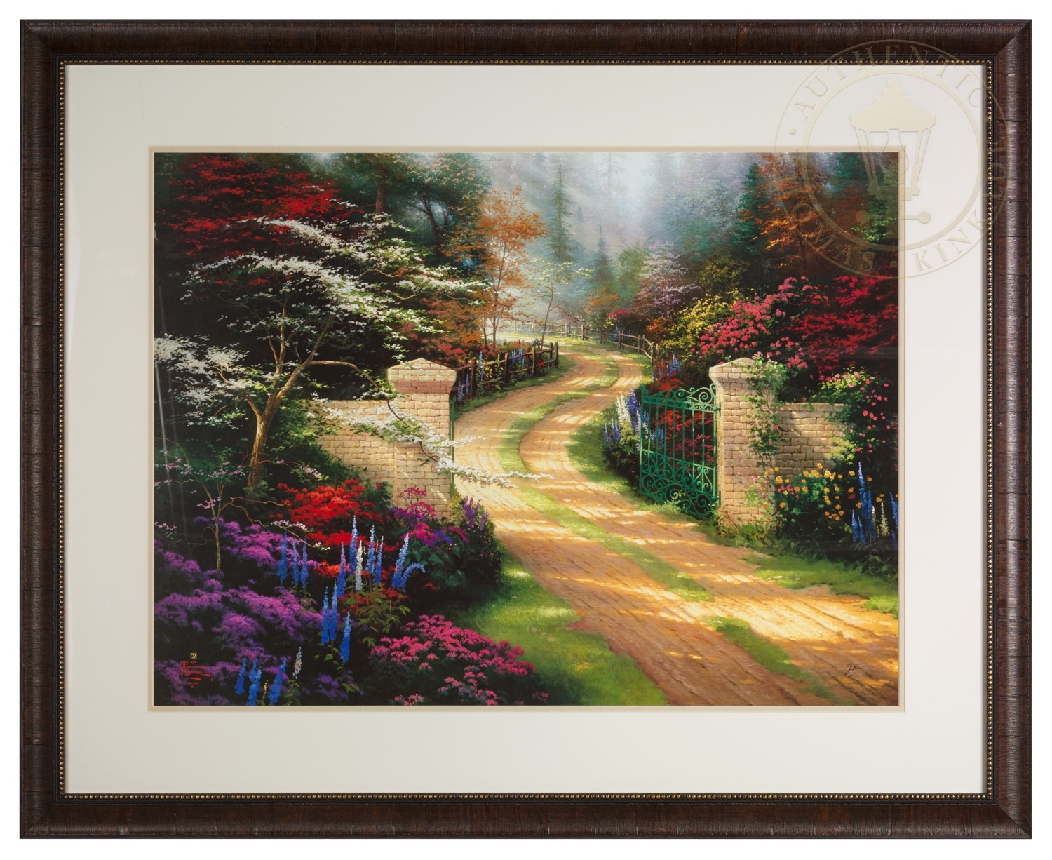 Spring Gate Framed Matted Print Signed By Thomas Kinkade