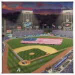 Evening at Dodger Stadium™ 14 x 14 Gallery Wrapped Canvas Front View