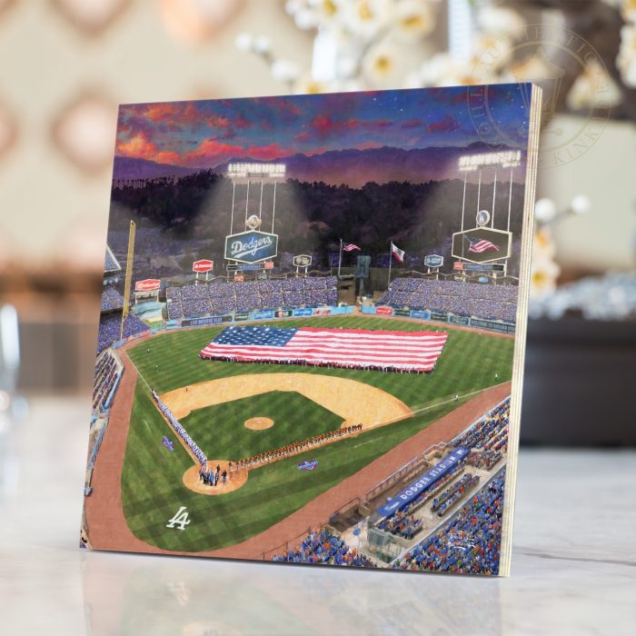 Evening at <em>Dodger Stadium</em>™ – 8″ x 8″ Print on Wood