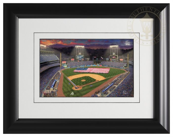 Evening at <em>Dodger Stadium</em>™ – 9″ x 12″ Matted Print (Satin Black Frame)