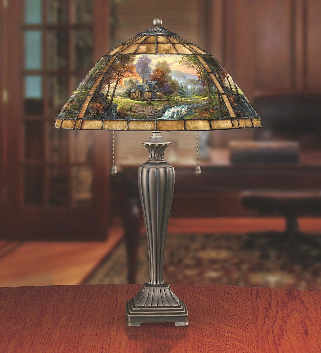 Thomas kinkade mountain retreat stained glass table lamp the stained glass table lamp bradford exchange thomas kinkade mountain retreat lamp aloadofball Choice Image