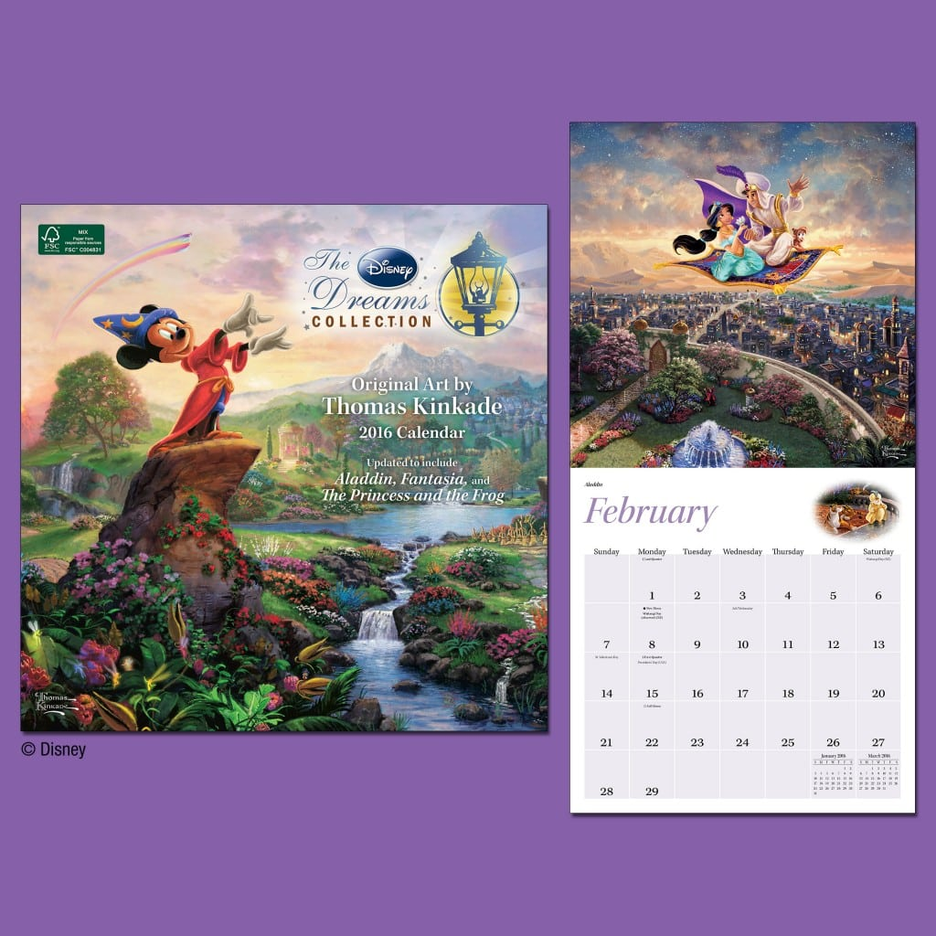 Andrews McMeel Thomas Kinkade Disney Dreams 2016 Wall Calendar