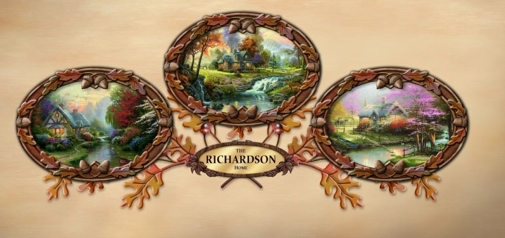 Thomas Kinkade Bradford Exchange The Warmth Of Home Personalized Wall Decor Collection