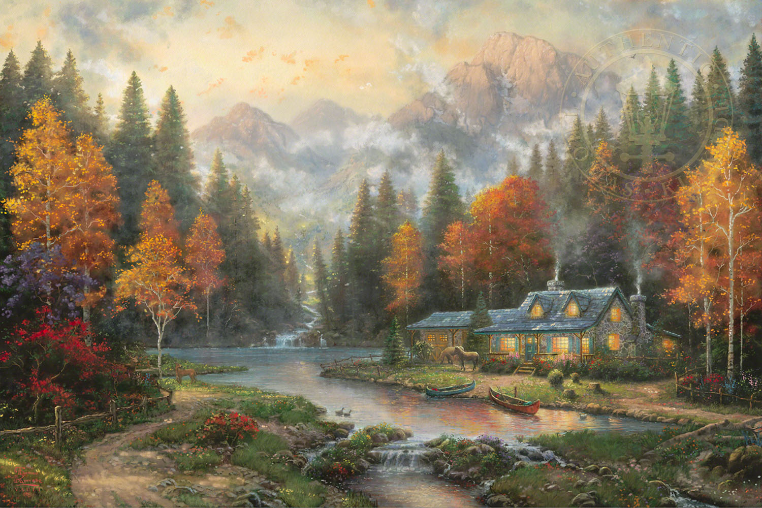 Evening At Autumn Lake The Thomas Kinkade Company