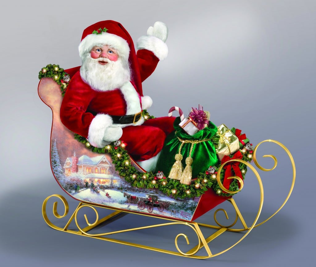 homas Kinkade Jolly Illuminated Sleigh Santa Doll - Bradford Exchange