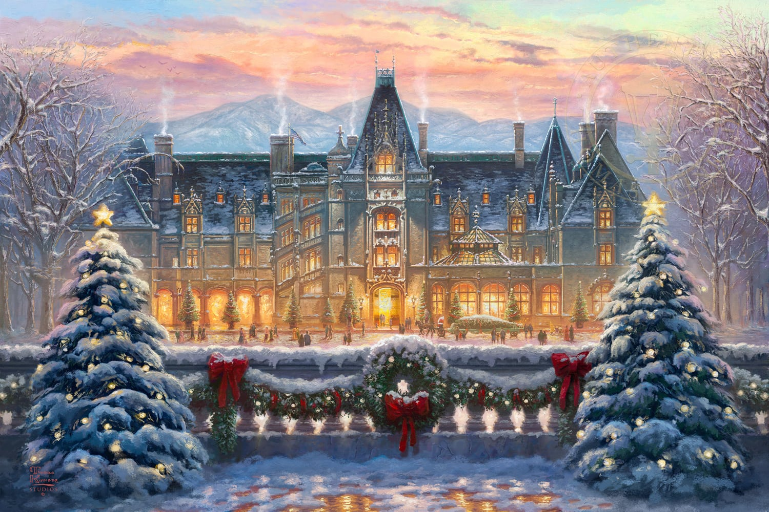 thomas kinkade christmas at biltmore 12 x 18 limited. Black Bedroom Furniture Sets. Home Design Ideas