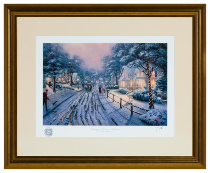 Hometown Christmas Memories – Framed Matted Print Signed by Thomas Kinkade (Gold Frame)