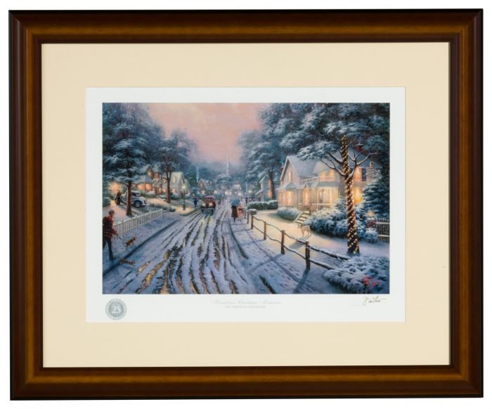 Hometown Christmas Memories – Framed Matted Print Signed by Thomas Kinkade – Standard Numbered (Caramel Frame)