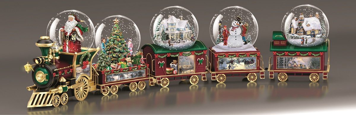 Thomas Kinkade Wonderland Express Train Collection. Bradford Exchange Snow Globe Train