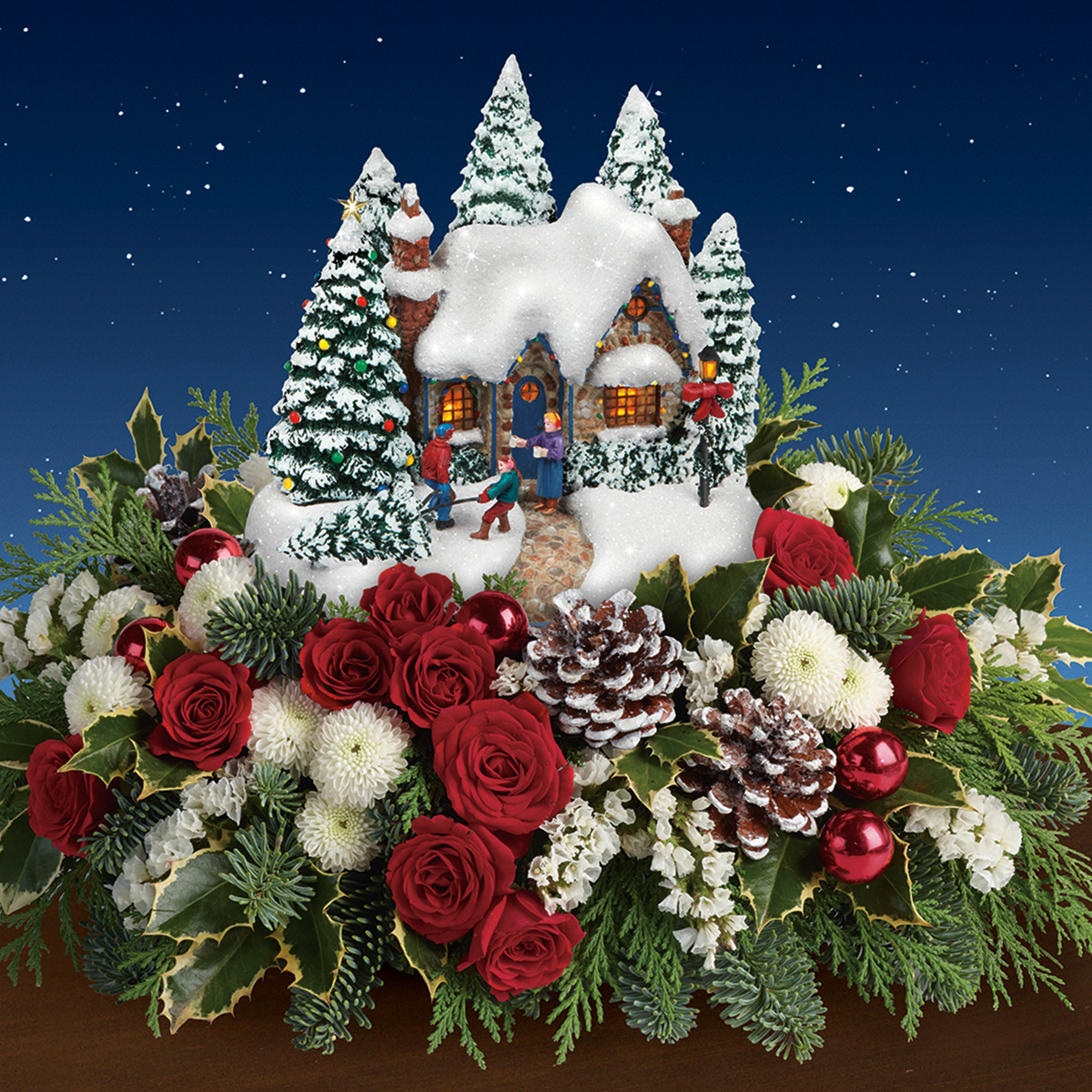 Teleflora Christmas Arrangements 2020 Thomas Kinkade's Country Christmas Homecoming Bouquet by Teleflora
