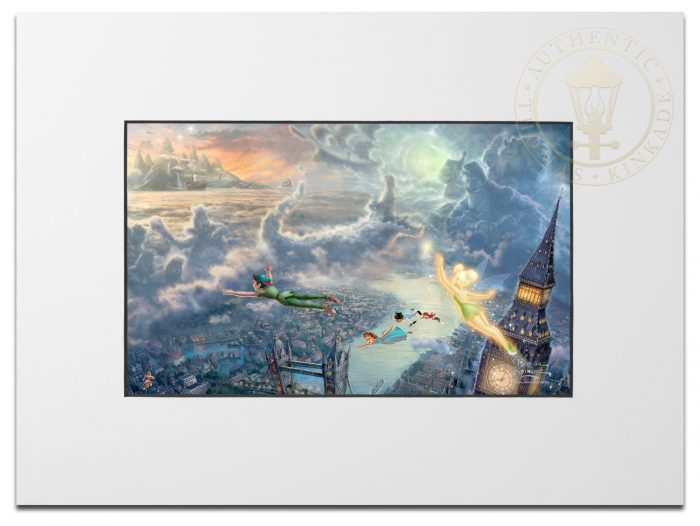 Tinker Bell and Peter Pan Fly to Neverland – Matted Print