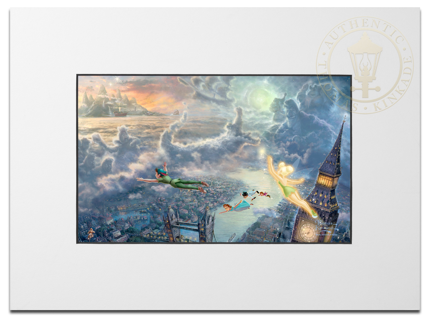 Tinker Bell And Peter Pan Fly To Neverland Matted Prints