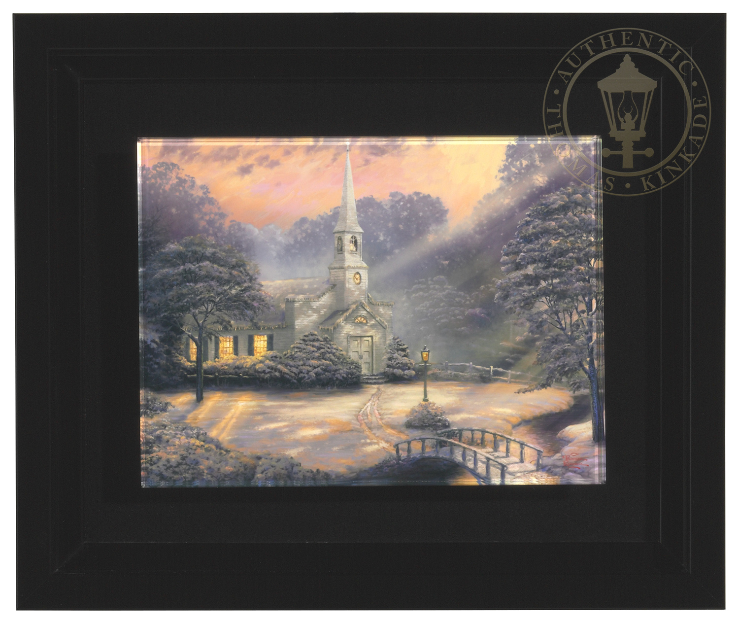 Snow At Hometown Chapel Framed Luminous Art Print