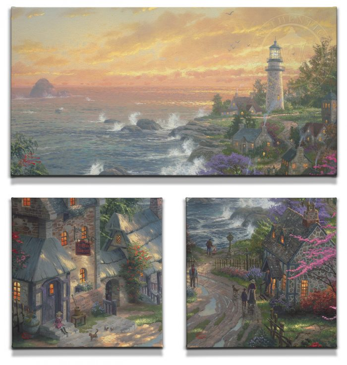 Village Lighthouse, The (Set of 3) – 1 – 16″ x 31″ and 2 – 14″ x 14″ Gallery Wrapped Canvas