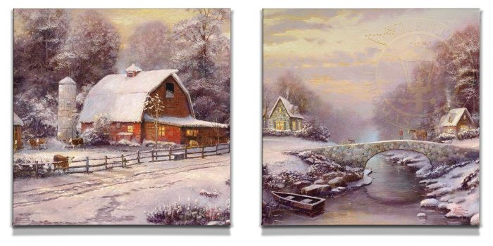 Winter at Riverbend Farm (Set of 2) – 20″ x 20″ Gallery Wrapped Canvas