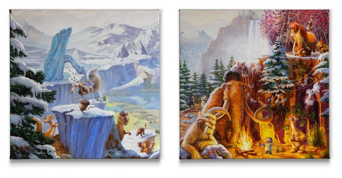 Ice Age (Set of 2) – 14″ x 14″ Gallery Wrapped Canvas