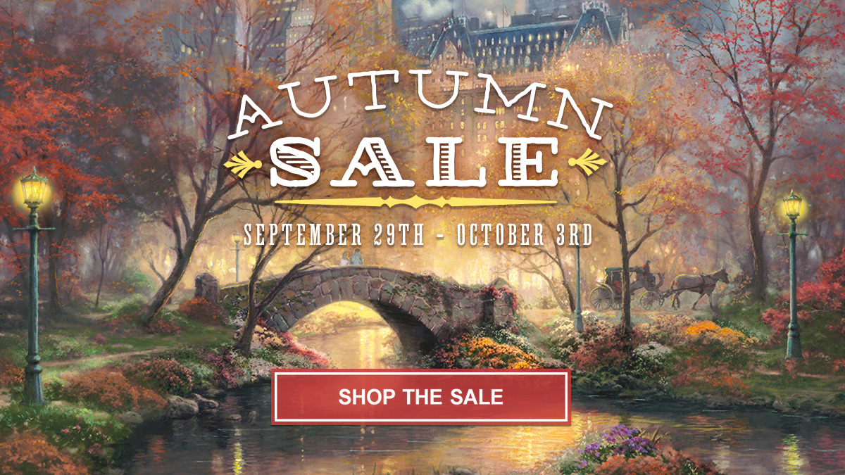 thomas kinkade autumn art and home decor sale the thomas kinkade be it the amazing fall colors the harvest or perhaps your passion for baseball thomas kinkade fine art has a variety of styles