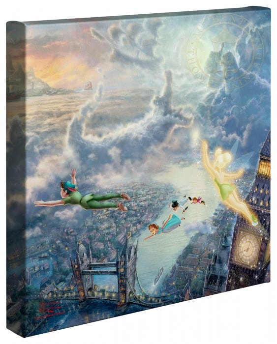 Tinker Bell and Peter Pan Fly to Neverland – 14″ x 14″ Gallery Wrapped Canvas