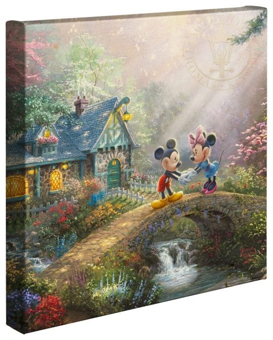 Mickey & Minnie Sweetheart Bridge – 14″ x 14″ Gallery Wrapped Canvas