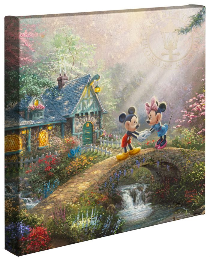 Mickey and Minnie Sweetheart Bridge – 14″ x 14″ Gallery Wrapped Canvas
