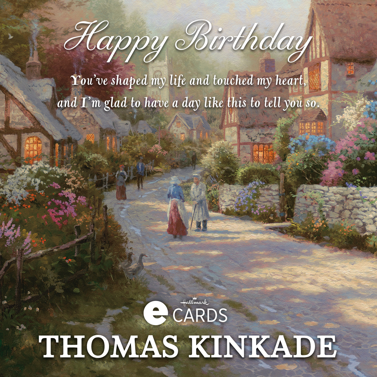 Hallmark Birthday Ecard Cobblestone Village The Thomas Kinkade
