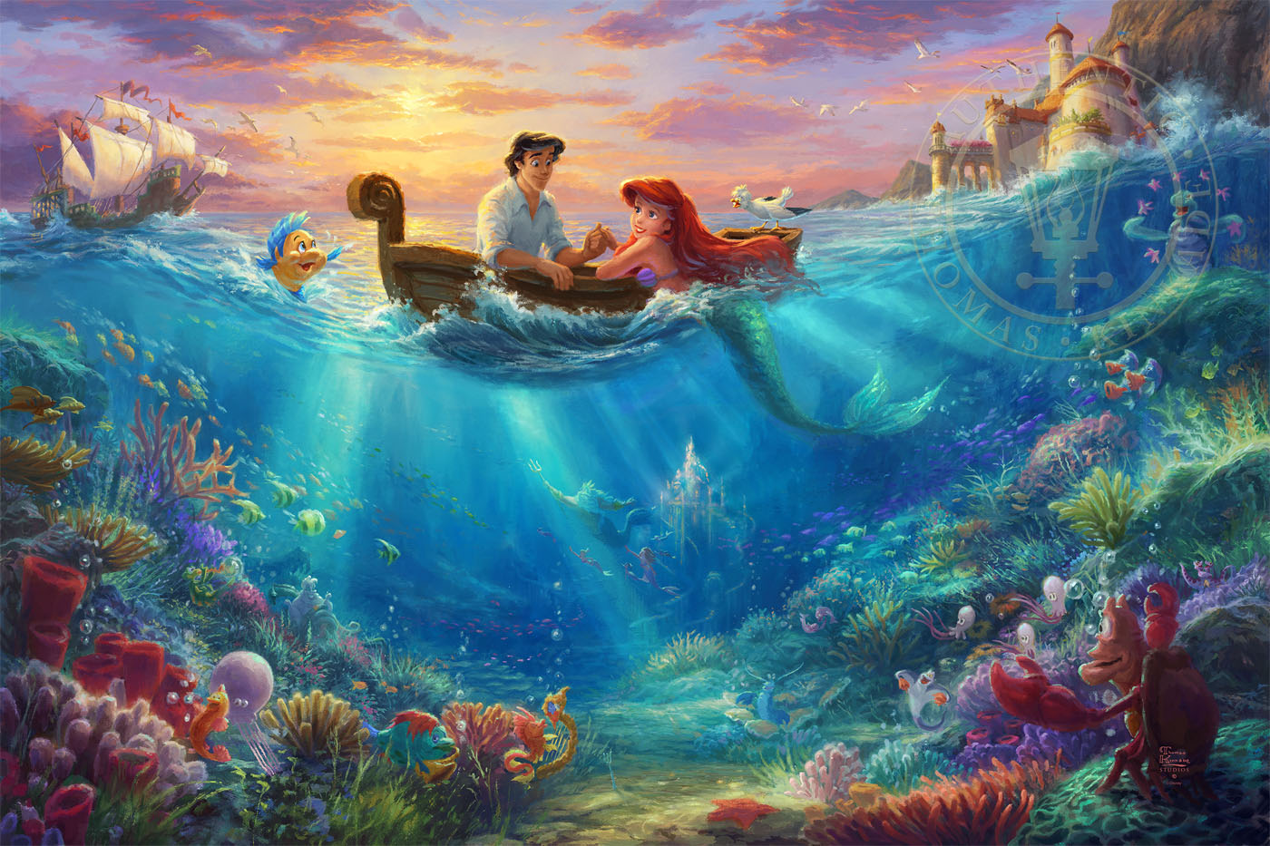 The Little Mermaid Falling In Love The Thomas Kinkade