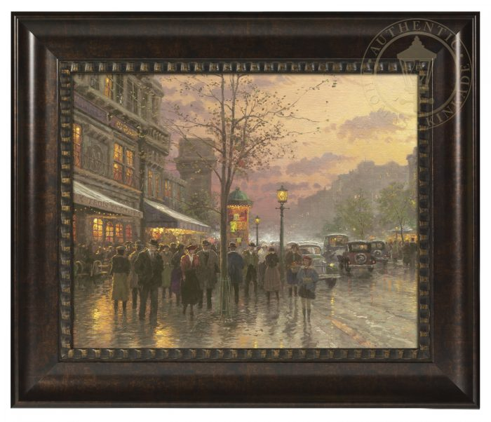 Boulevard Lights, Paris – 16″ x 20″ Brushstroke Vignette (Rich Burl Frame)