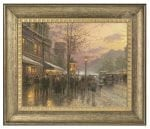 Boulevard Lights, Paris – 16″ x 20″ Brushstroke Vignette (Burnished Gold Frame)
