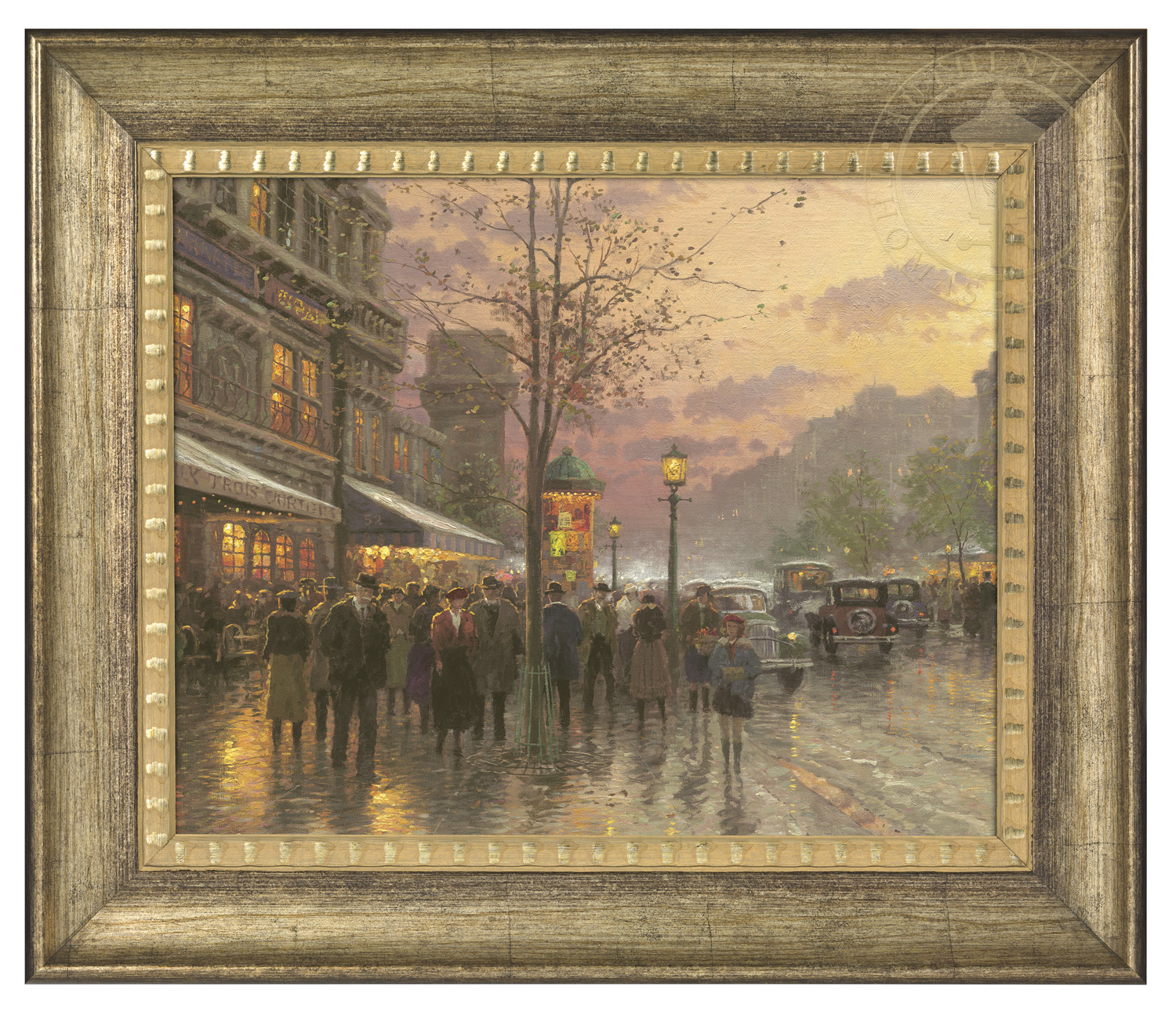 Boulevard Lights Paris 16 X 20 Brushstroke Vignette Burnished