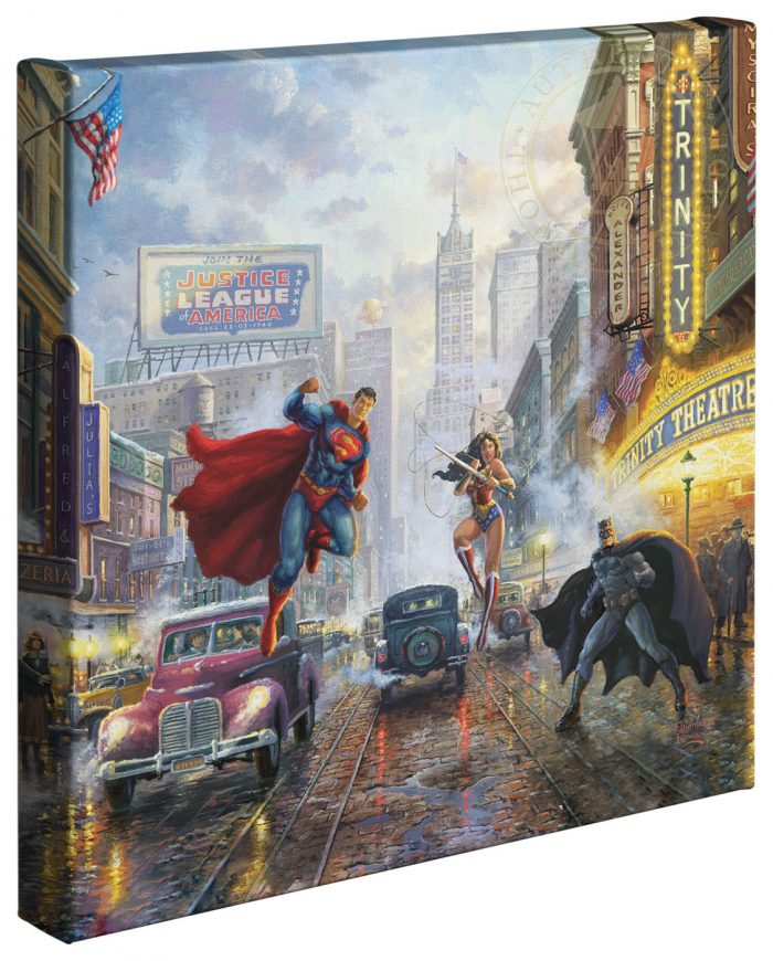 Batman, Superman, Wonder Woman – 14″ x 14″ Gallery Wrapped Canvas