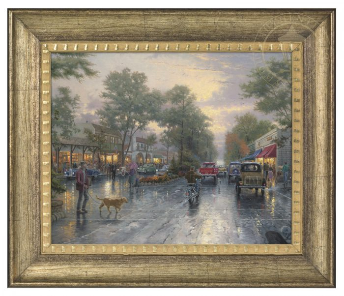 Carmel, Sunset on Ocean Avenue – 16″ x 20″ Brushstroke Vignette (Burnished Gold Frame)