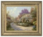 Cobblestone Village – 16″ x 20″ Brushstroke Vignette (Burnished Gold Frame)