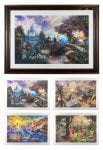 EZ Frame with four Disney images – 26″ x 35″ Framed Prints (Rustic Burl Frame)