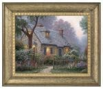 Foxglove Cottage – 16″ x 20″ Brushstroke Vignette (Burnished Gold Frame)