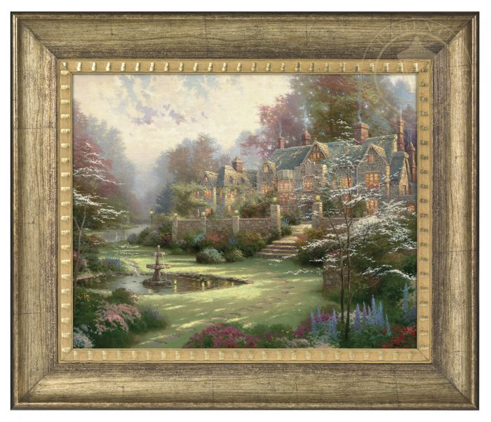 Gardens Beyond Spring Gate – 16″ x 20″ Brushstroke Vignette (Burnished Gold Frame)