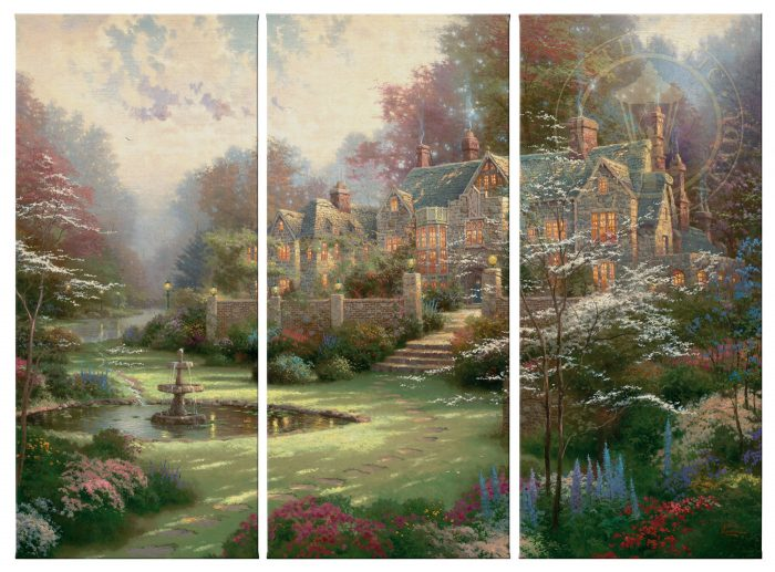 Gardens Beyond Spring Gate – 36″ x 16″ (Set of 3 Panels) Triptych Giclee Canvas (Set of Three)