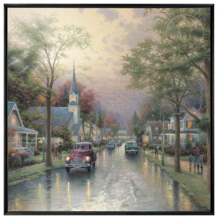 Hometown Morning – 36″ x 36″ Framed Canvas Wall Murals