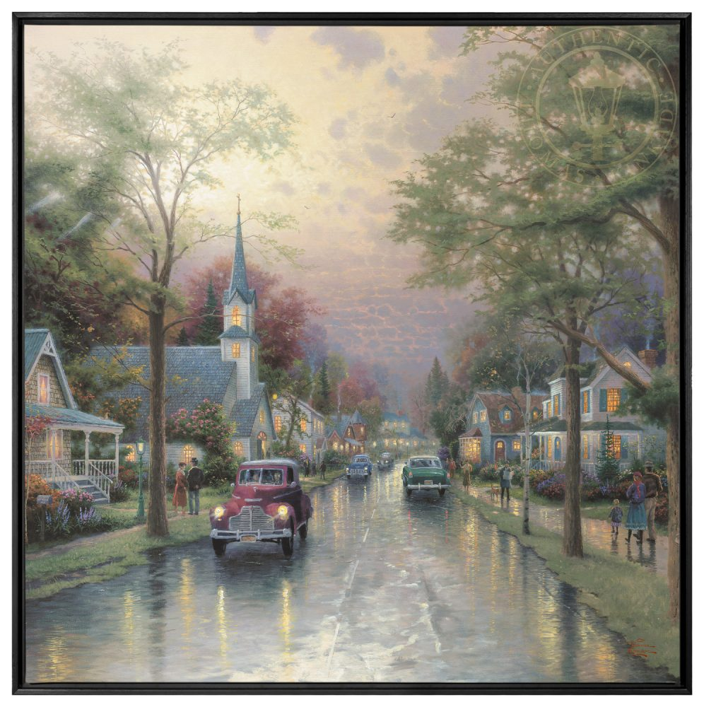 Hometown Morning 36 x 36 Framed Canvas Wall Murals The Thomas