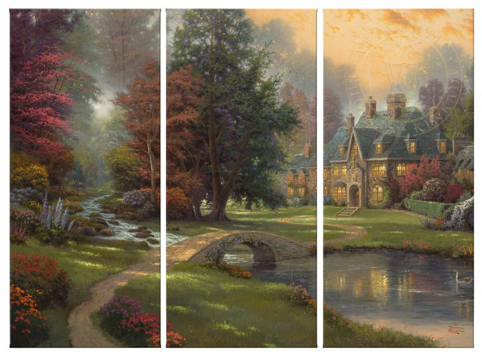 Lakeside Manor – 36″ x 16″ (Set of 3 Panels) Triptych Giclee Canvas (Set of Three)